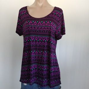 LulaRoe Purple Tribal Print Scoopneck Shirt